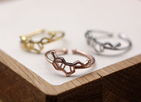 Serotonin Molecule stacking Ring, Serotonin ring, Chemistry Compound Ring, chemistry jewelry  in 3 colors