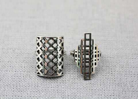 925 Sterling Silver 3D illusion Square shape statement ring, square polygon ring