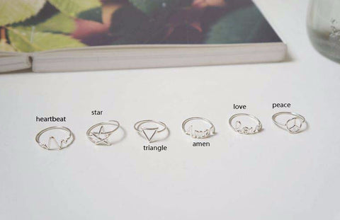 925 sterling silver 6 type knuckle rings, midi rings-heartbeat, amen, love, star, triangle, peace