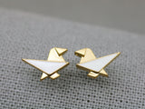 Cute Origami Animals Stud Earrings pointed with various color epoxy  (Puppy, Rabbit, Bird, Fox, )