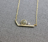 Geometric V Bar Necklace pointed with gemstone and cubic, Chevron  Necklace