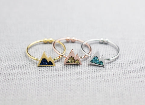 Cute Tiny Mountain Ring pointed with glitter, Glitter colored Mountain Ring