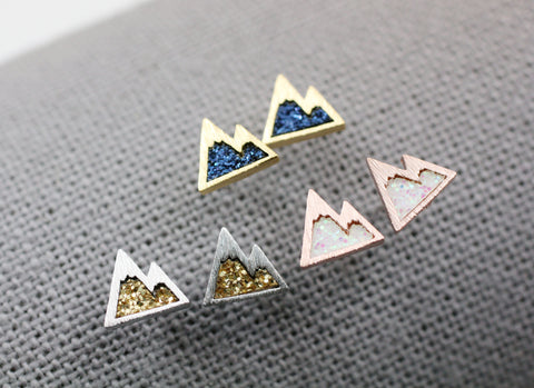 Cute Tiny Mountain stud earrings pointed with glitter, Glitter colored Mountain earrings
