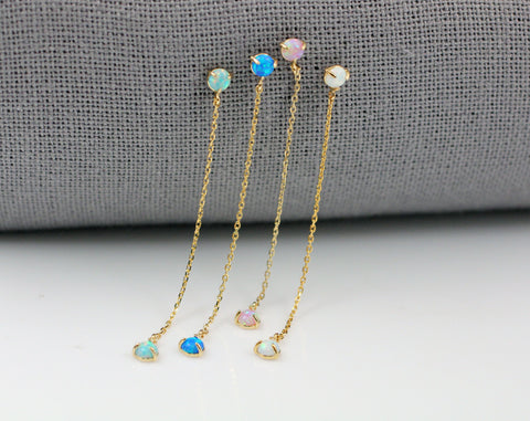Tiny Opal point long chain earrings, Opal Dangle Stud Earrings