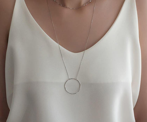 925 sterling silver Big Size Open Circle  necklace, Luck karma necklace ,Long Circle necklace