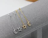 Crescent Moon and Tiny Star Long Chain Earrings ,Dangle Crescent moon and star earrings