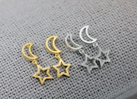 Open Crescent Moon and Star Dangle Earrings ,Dangle Crescent moon and star earrings