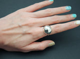 925 Sterling Silver Big Ball Statement Ring ,Big Hemisphere Ring, Statement dome ring