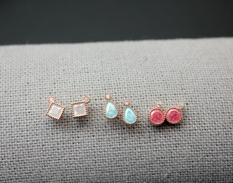 Tiny Gemstones stud Earrings, Cubic and gemstone earrings, Tear drop earrings, tiny square earrings