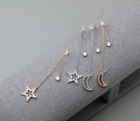 Cubic Crescent Moon and Star Long Chain Earrings ,Dangle Crescent moon and star unbalance earrings, cubic star and cubic moon Earrings