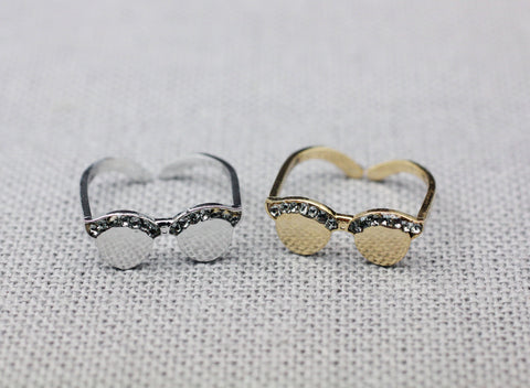 Cute Sunglasses Adjusted Ring detailed with black CZ , Eyeglasses ring, Summer Ring