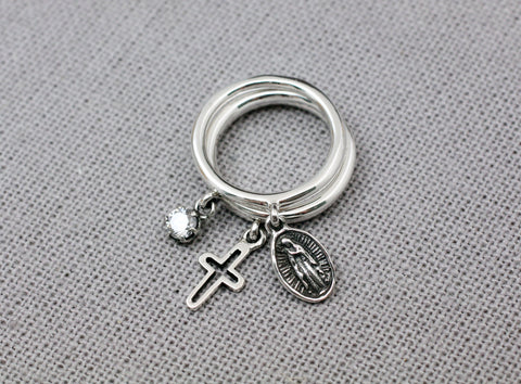 925 Sterling Silver A Set of 3 Miraculous Virgin Mary Medal and Cross Ring