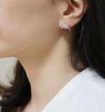 Cubic detailed Upside Down Moon earrings, Double Horn cubic earrings