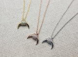 Cubic detailed Upside Down Moon charm Necklace, Double Horn cubic Necklace