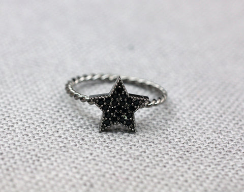 925 Sterling Silver Black Cubic Setting Star statement Ring
