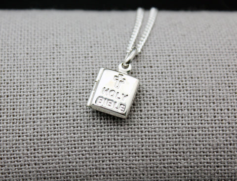 925 sterling silver Bible Locket Necklace,  Tiny Bile Locket Necklace, Book locket