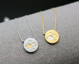 Planet and Tiny Star necklace, Universe necklace, Space necklace , Galaxy Necklace