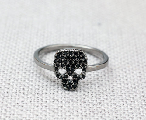 925 Sterling Silver Black Cubic Pave Setting Skull statement Ring