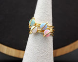 Planet ring pointed with OPAL,  Space stacking ring, Saturn opal Gemstone Ring