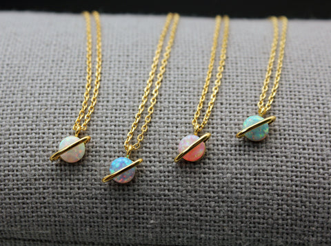 Planet necklace pointed with OPAL,  Space opal necklace, Saturn opal Gemstone Necklace