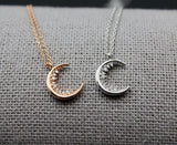 Crescent moon pendant Necklace detailed with cubic zircoina, Celestial Jewelry