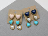 Formica Heart Beads long dangle earrings, Vintage style Heart long earrings