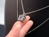 925 sterling silver Antique Cube Box charm necklace,Clasped Holder Locket,Keepsake Box necklace,Prayer Box necklace