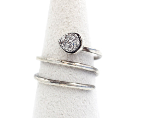 925 Sterling Silver Druzy Quartz coiled Wrapped Ring, R0025S