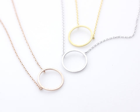 Luck karma Circle necklace in 3 colors(925 sterling silver / plated over Brass)