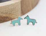 Dala HORSE ,Tiny Donkey enamel Stud Earrings in silver/ gold