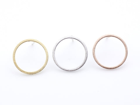Luck karma Circle stude Earrings in 3 colors