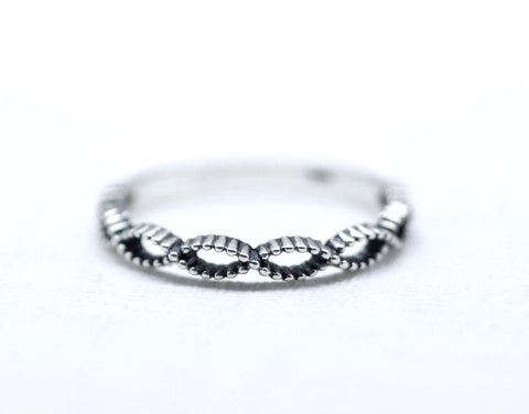 925 Sterling Silver Twisted Helix Pattern Infinity Ring