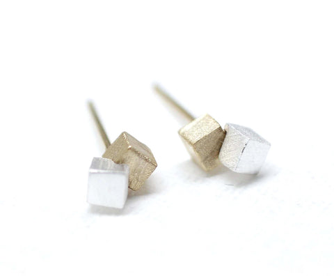 Gold and Silver Cube Block earrings-geometric jewelry
