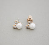 925 Sterling Silver Pearl Mickey Mouse detailed with CZ Stud Earrings, E0861S