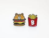 Cute Teddy Bear and Hamburger Earrings, Cute Line Character Earrings, Hamburger and French fry
