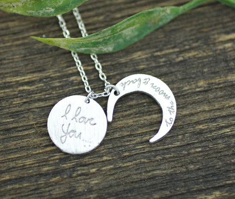 i love you to the moon and back necklace, Crescent moon pendant Necklace, N0158K