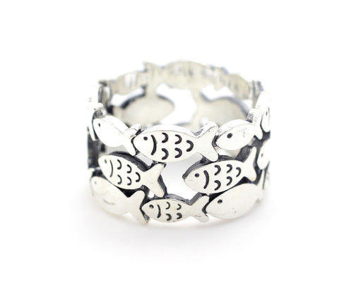 925 sterling silver Fish in Row Band Ring Triple row