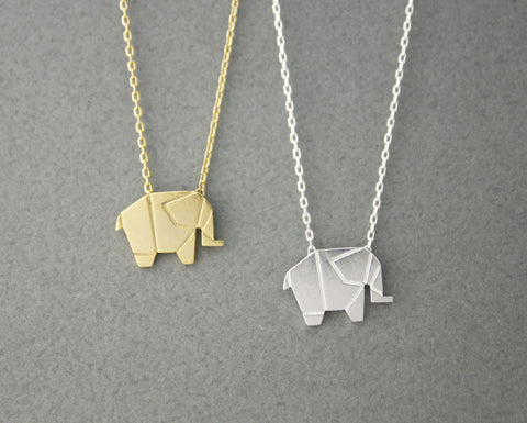 Origami Tiny elephant Pendant Necklace in silver/ gold , N0428G