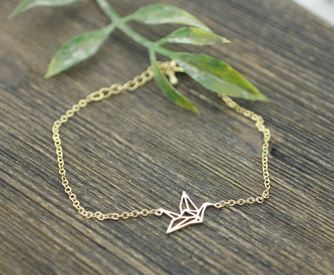 Origami Crane Bracelet in  gold / silver(925 sterling silver/plated over Brass)