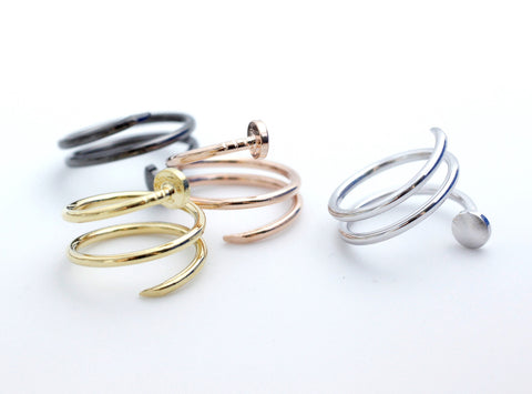 Twisted Nail ring  in 4 colors- Adjustable Ring