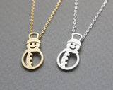 Holiday necklace snowman necklace, winter jewelry, white snow holiday jewelry