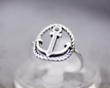 925 sterling silver Anchor Statement ring, Nautical Ring , Sailor ring, Wheel Helm Anchor Ring