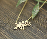 Love birds on the branch necklace in gold /silver, N0183G
