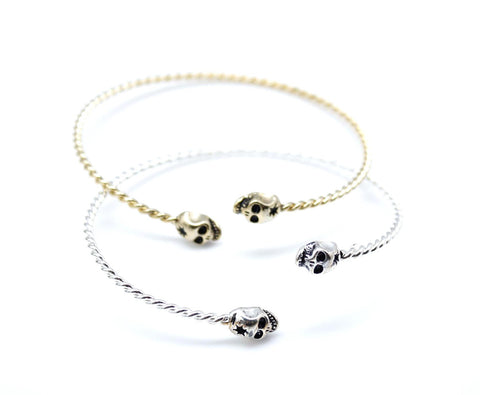 SKULL with GUNSHOT Bangle Bracelet silver/ gold-twisted adjustable band