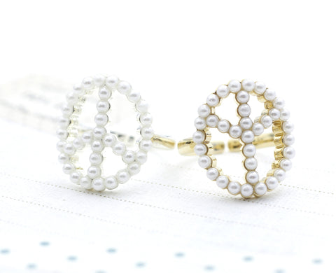 Peace sign with Pearl in Gold Silver - Adjustable Ring