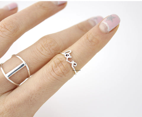 925 sterling silver Love script ring band , R0436S