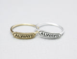 Tiny Always signboard band ring(925 sterling silver / plated over Brass), R0837G