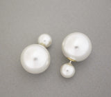 Front and Back Double Pearls EarJackets Post Earrings 8mm & 16mm , E0863S