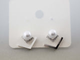 Front and Back Pearl and Cubic Triangles earrings, Pearl and Cubic Arrows ear jacket, peal and cubic earrings, E1107S