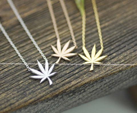 Marijuana leaf Pendant Necklace in 3 colors,(925 sterling silver / plated over Brass) N0195K